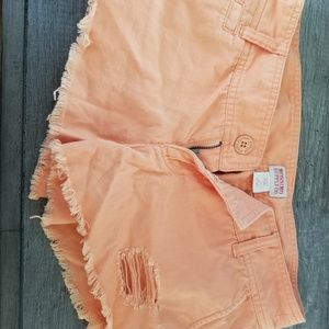 Mossimo Sherbert Orange Ripped Jean Shorts Fringe